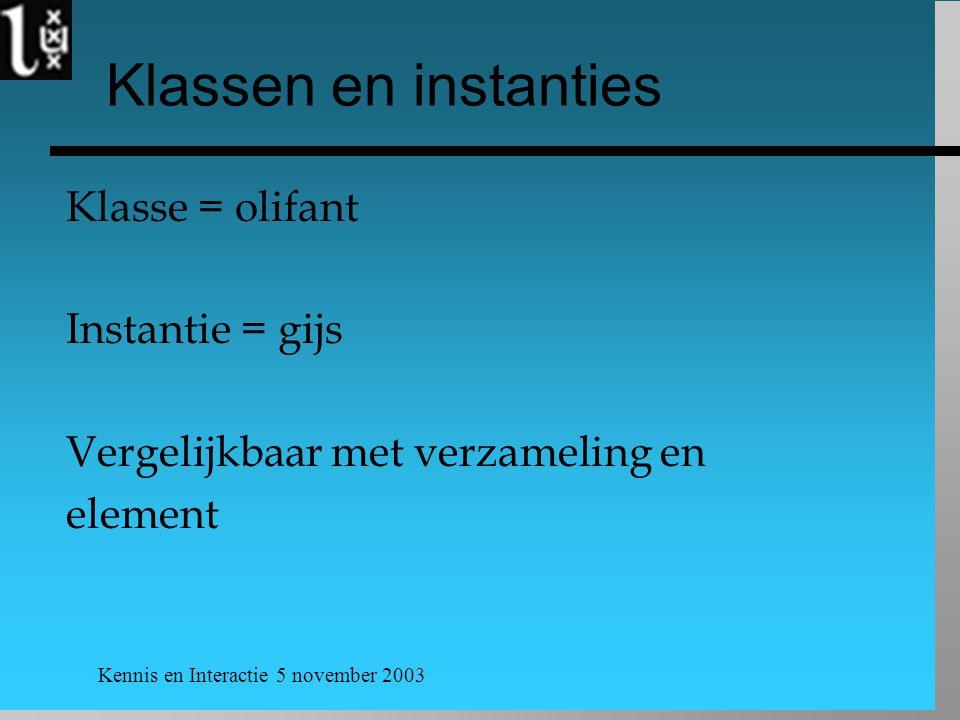 Klassen en instanties Klasse = olifant Instantie = gijs