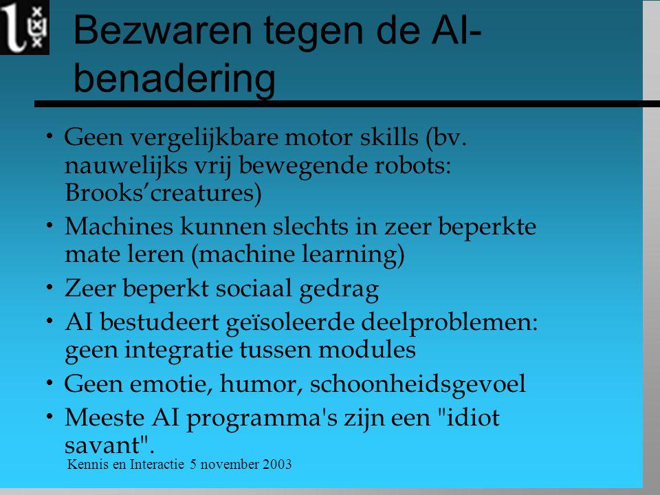 Bezwaren tegen de AI-benadering