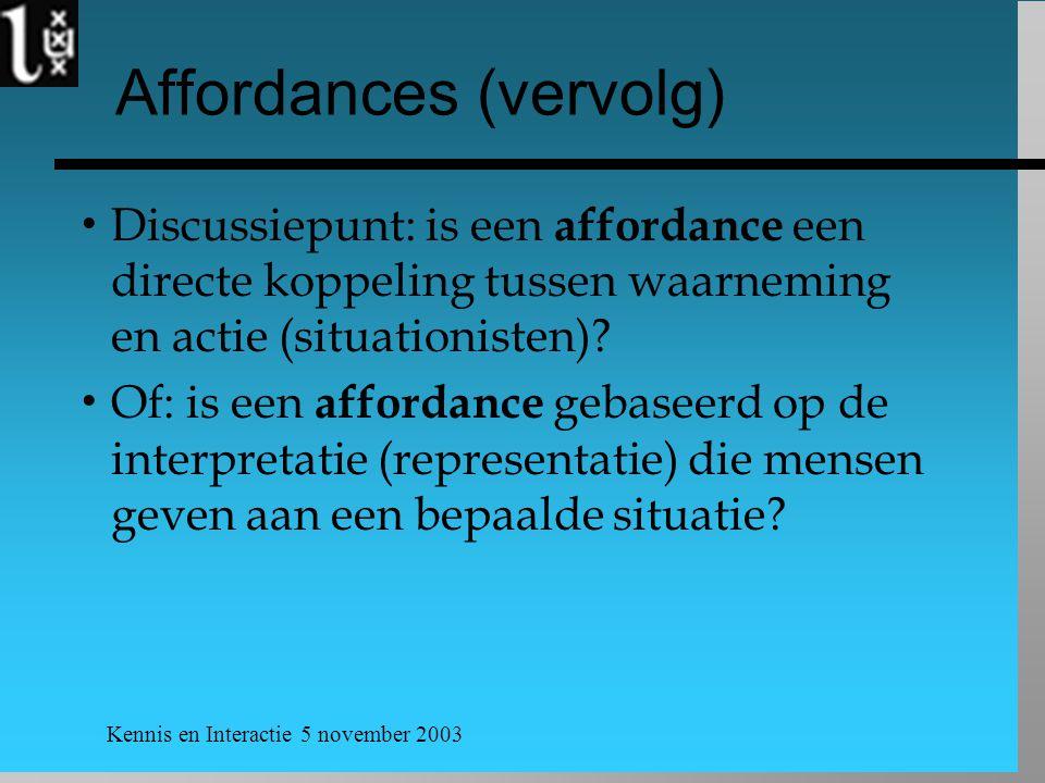 Affordances (vervolg)
