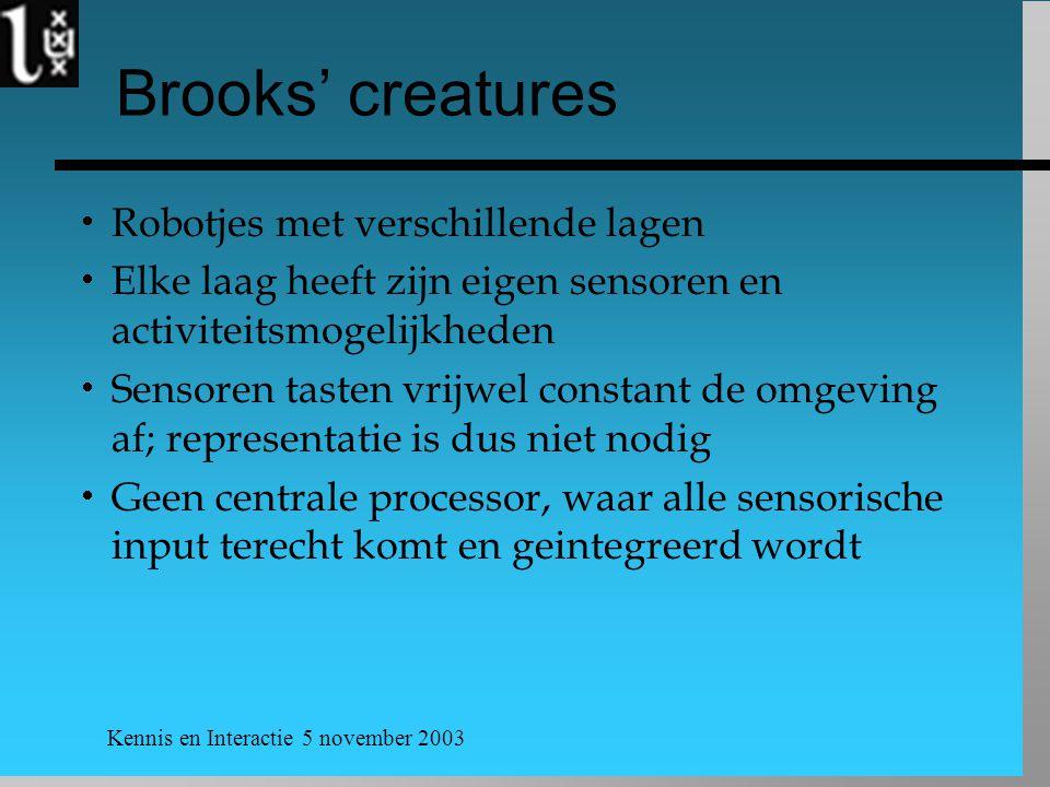 Brooks' creatures Robotjes met verschillende lagen