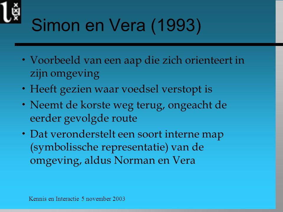 Simon en Vera (1993) Voorbeeld van een aap die zich orienteert in zijn omgeving. Heeft gezien waar voedsel verstopt is.