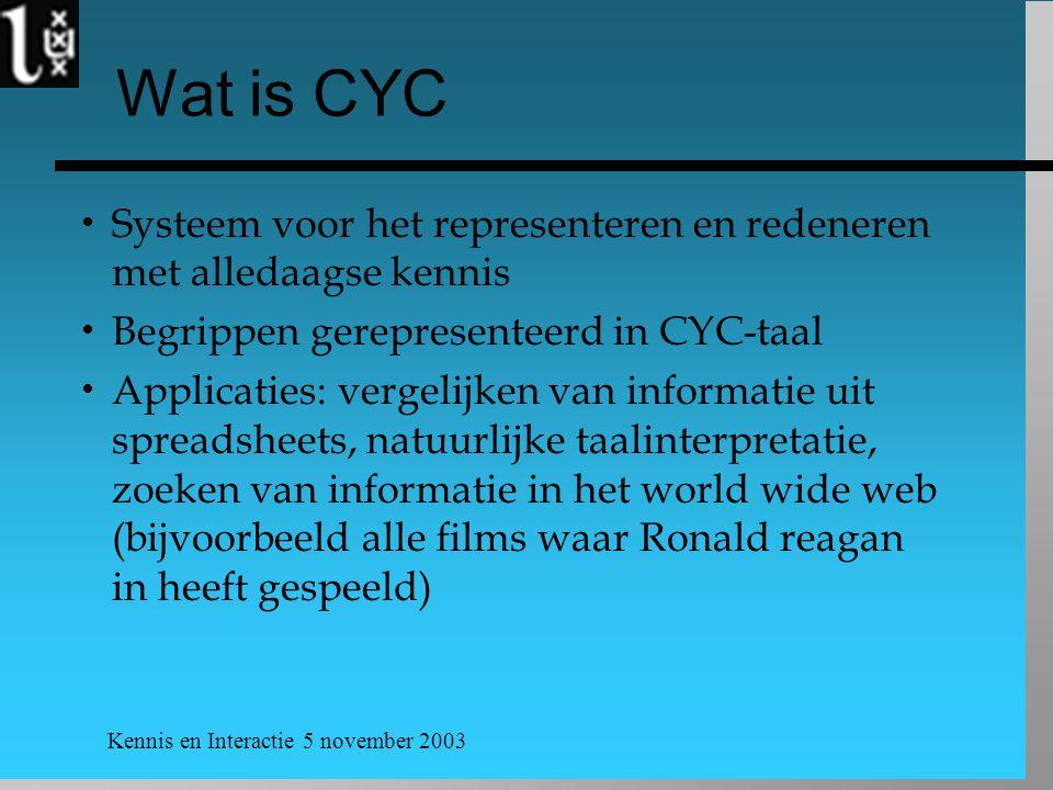 Wat is CYC Systeem voor het representeren en redeneren met alledaagse kennis. Begrippen gerepresenteerd in CYC-taal.