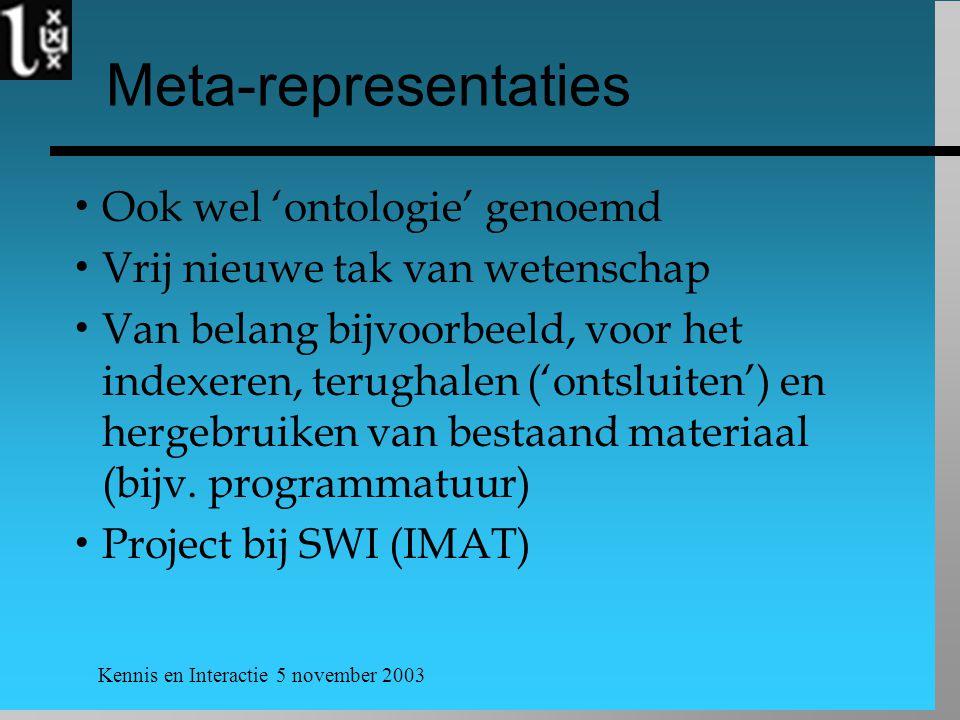 Meta-representaties Ook wel 'ontologie' genoemd