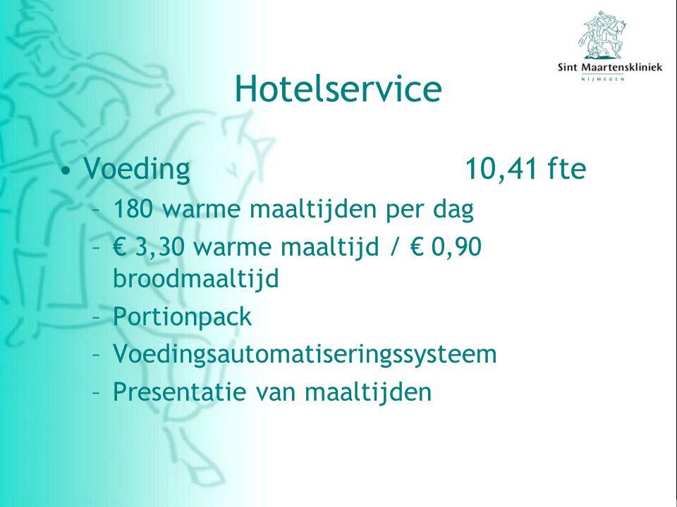 Hotelservice Voeding 10,41 fte 180 warme maaltijden per dag