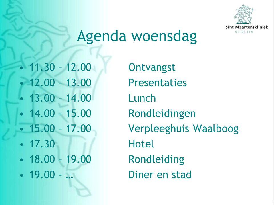 Agenda woensdag 11.30 – 12.00 Ontvangst 12.00 – 13.00 Presentaties