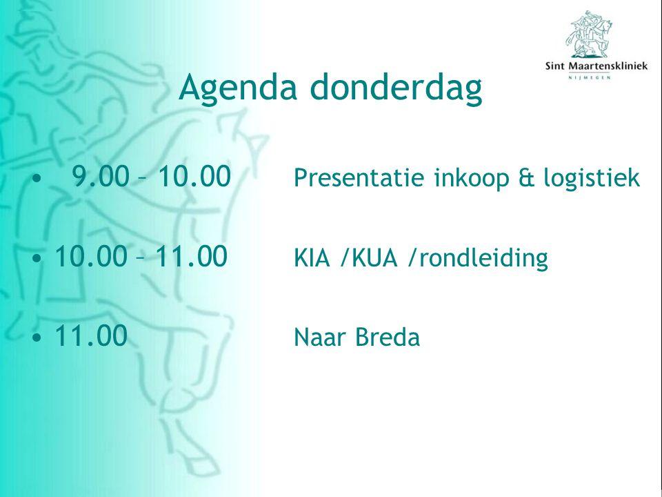 Agenda donderdag 9.00 – 10.00 Presentatie inkoop & logistiek