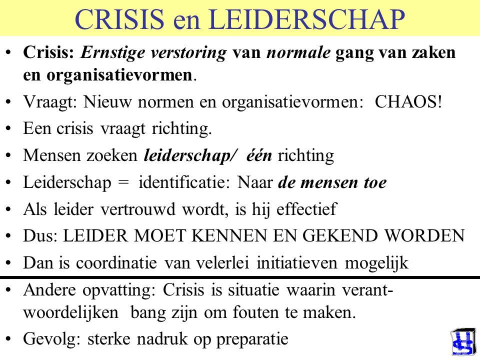 CRISIS en LEIDERSCHAP Crisis: Ernstige verstoring van normale gang van zaken en organisatievormen.