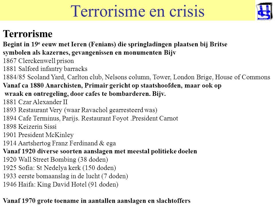 Terrorisme en crisis Terrorisme komt per definitie onverwacht