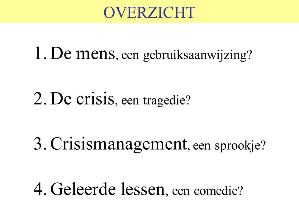De mens, een gebruiksaanwijzing De crisis, een tragedie