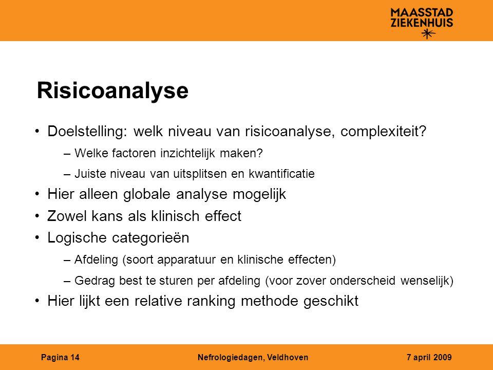Risicoanalyse Doelstelling: welk niveau van risicoanalyse, complexiteit Welke factoren inzichtelijk maken