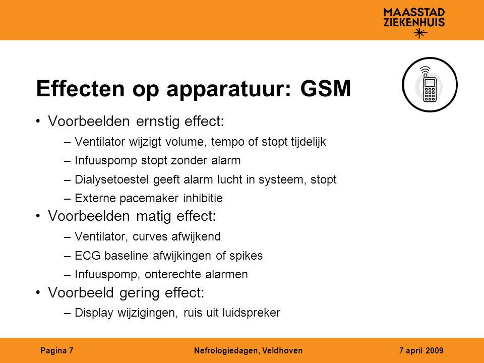 Effecten op apparatuur: GSM