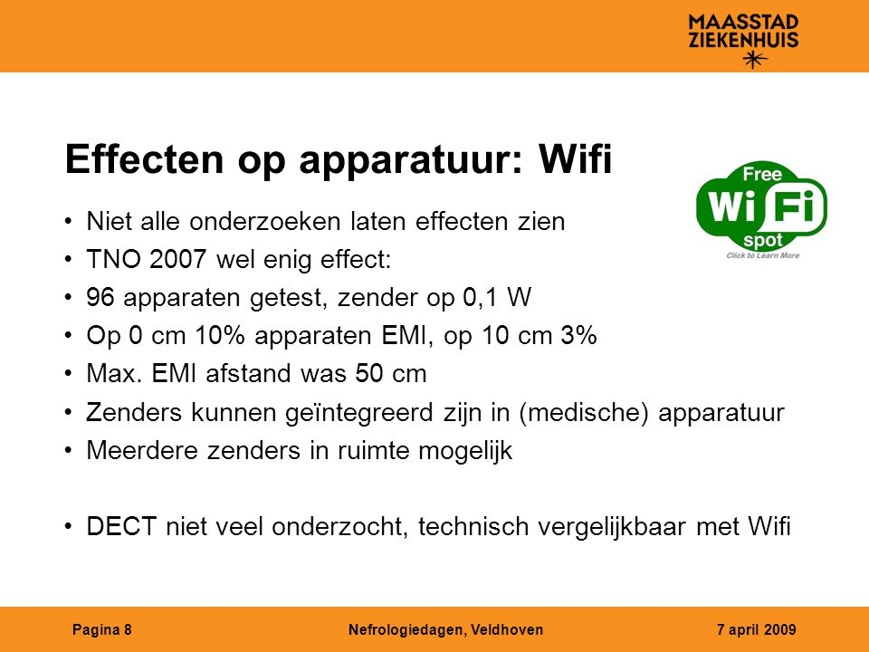 Effecten op apparatuur: Wifi