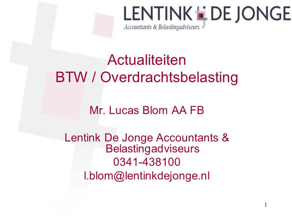 BTW / Overdrachtsbelasting