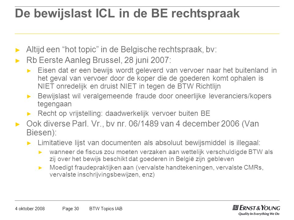 De bewijslast ICL in de BE rechtspraak