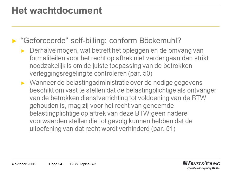 Het wachtdocument Geforceerde self-billing: conform Böckemuhl