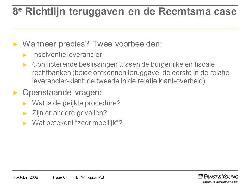 8e Richtlijn teruggaven en de Reemtsma case
