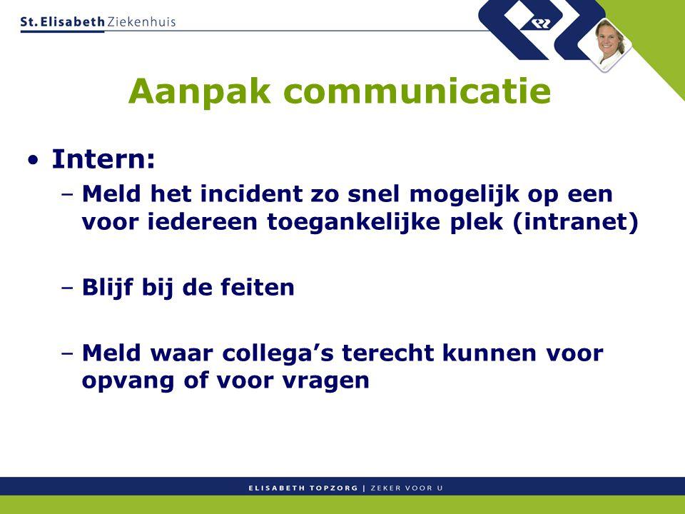 Aanpak communicatie Intern: