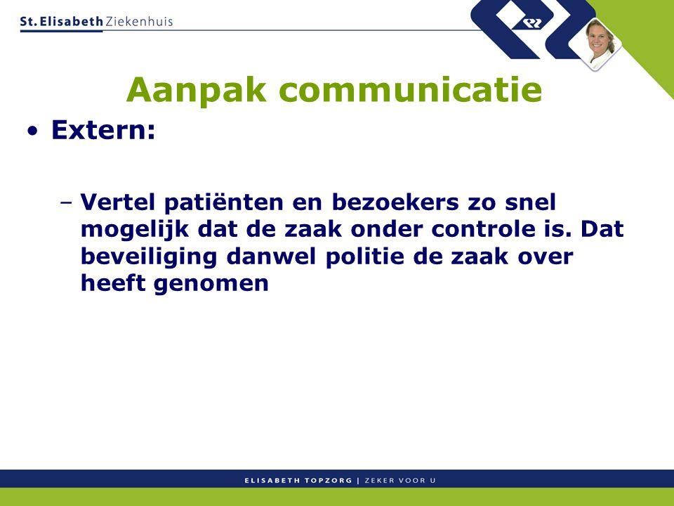 Aanpak communicatie Extern: