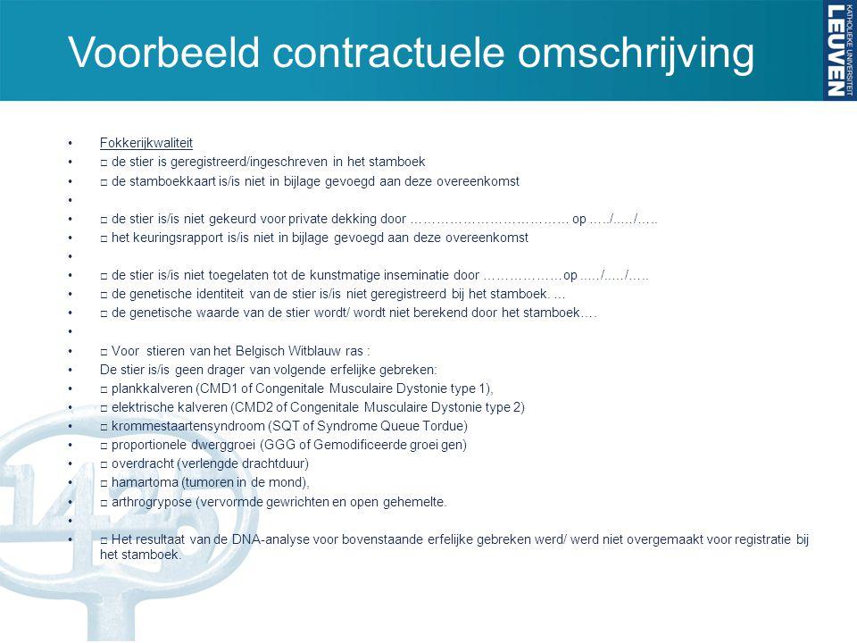 Voorbeeld contractuele omschrijving