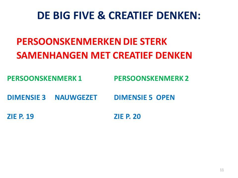 DE BIG FIVE & CREATIEF DENKEN: