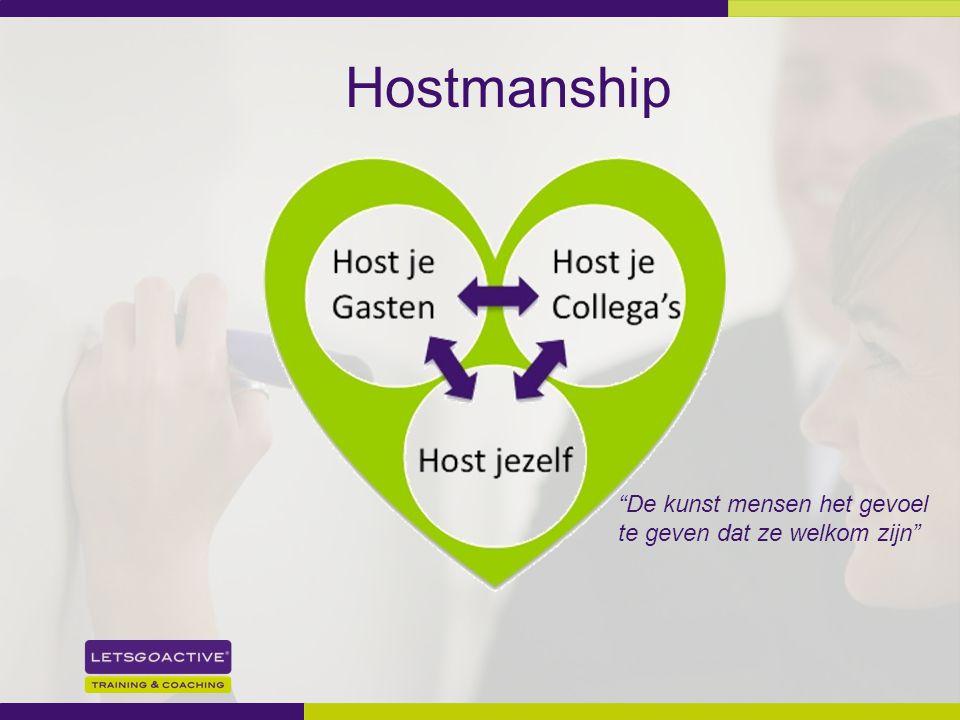 Hostmanship De kunst mensen het gevoel te geven dat ze welkom zijn