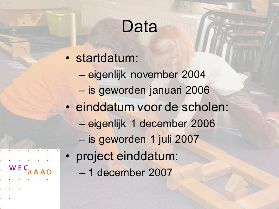 Data startdatum: einddatum voor de scholen: project einddatum: