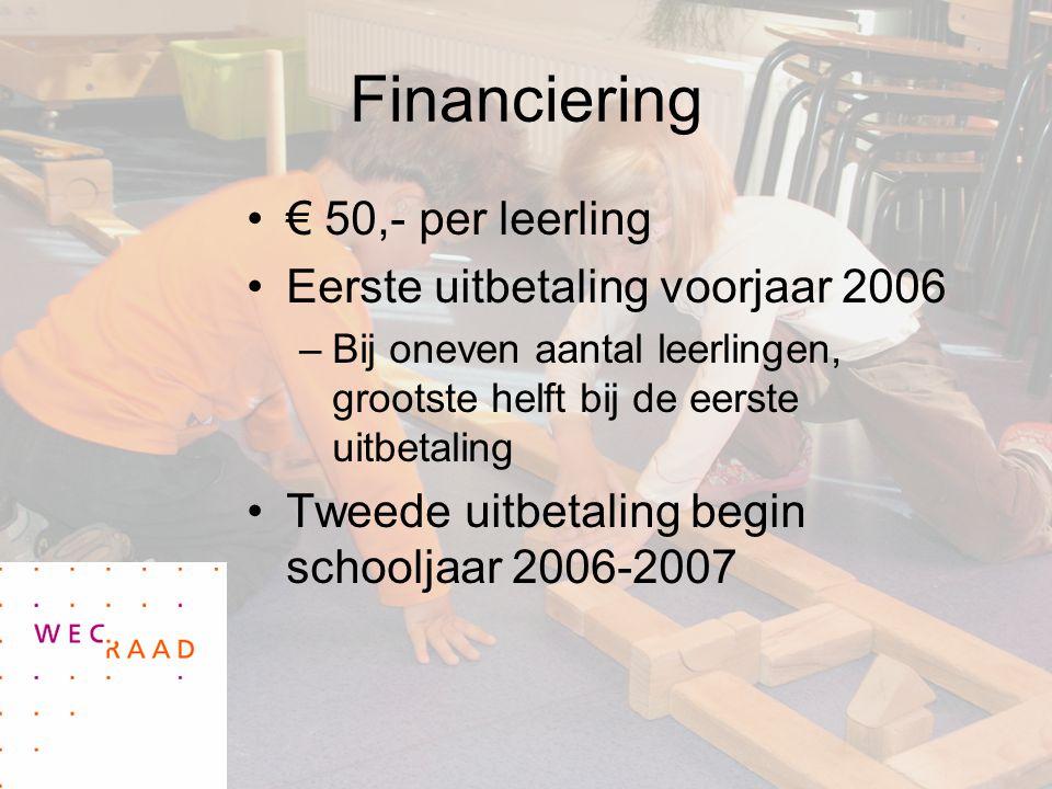 Financiering € 50,- per leerling Eerste uitbetaling voorjaar 2006