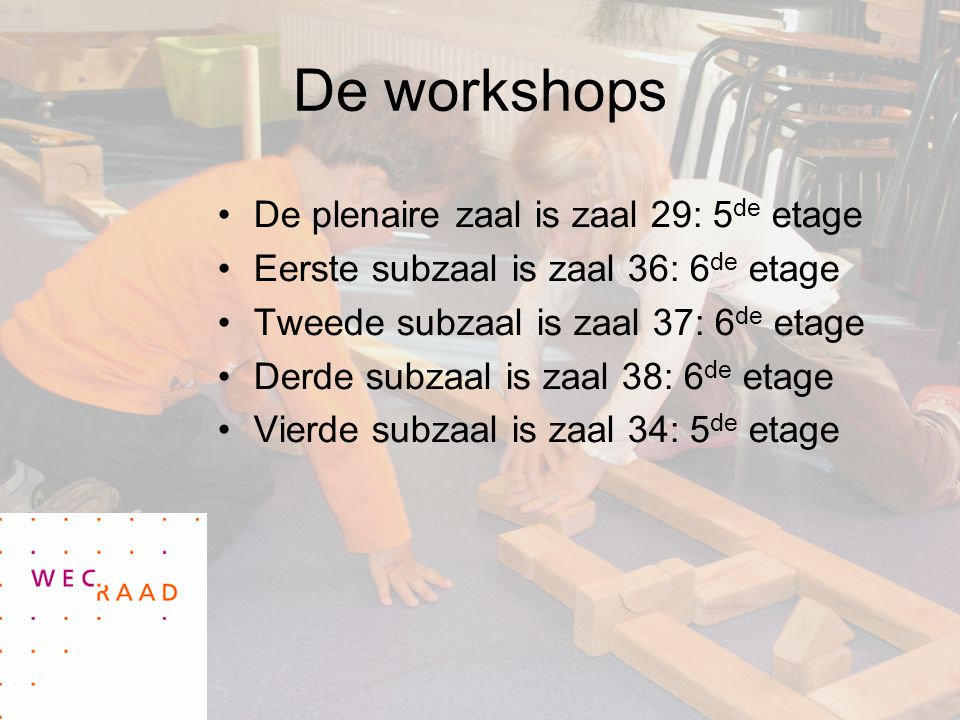 De workshops De plenaire zaal is zaal 29: 5de etage