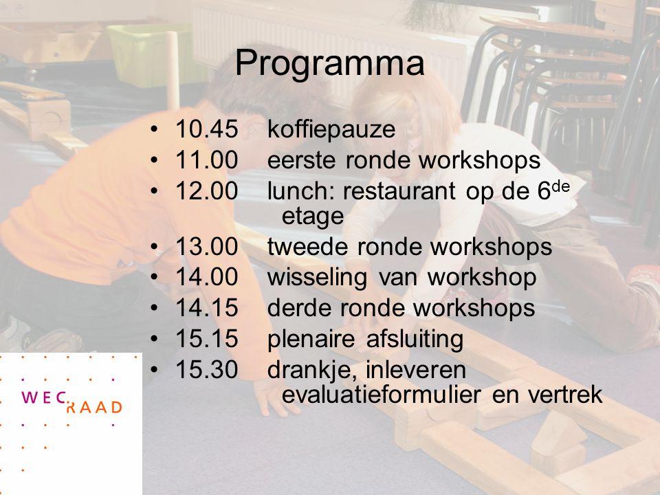 Programma 10.45 koffiepauze 11.00 eerste ronde workshops
