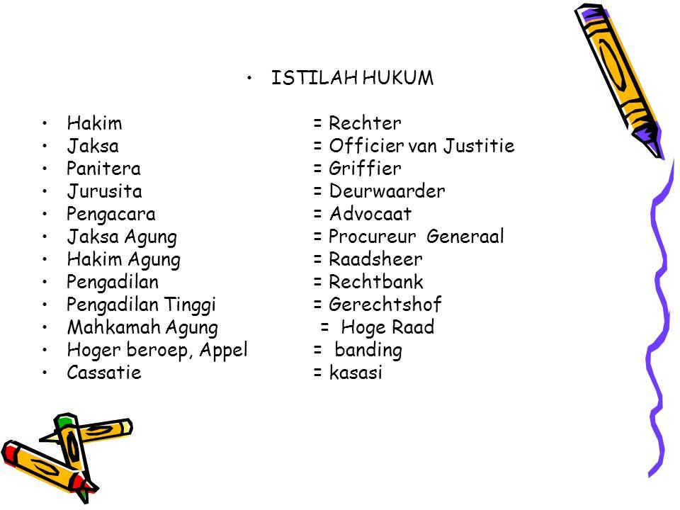 ISTILAH HUKUM Hakim = Rechter. Jaksa = Officier van Justitie. Panitera = Griffier. Jurusita = Deurwaarder.