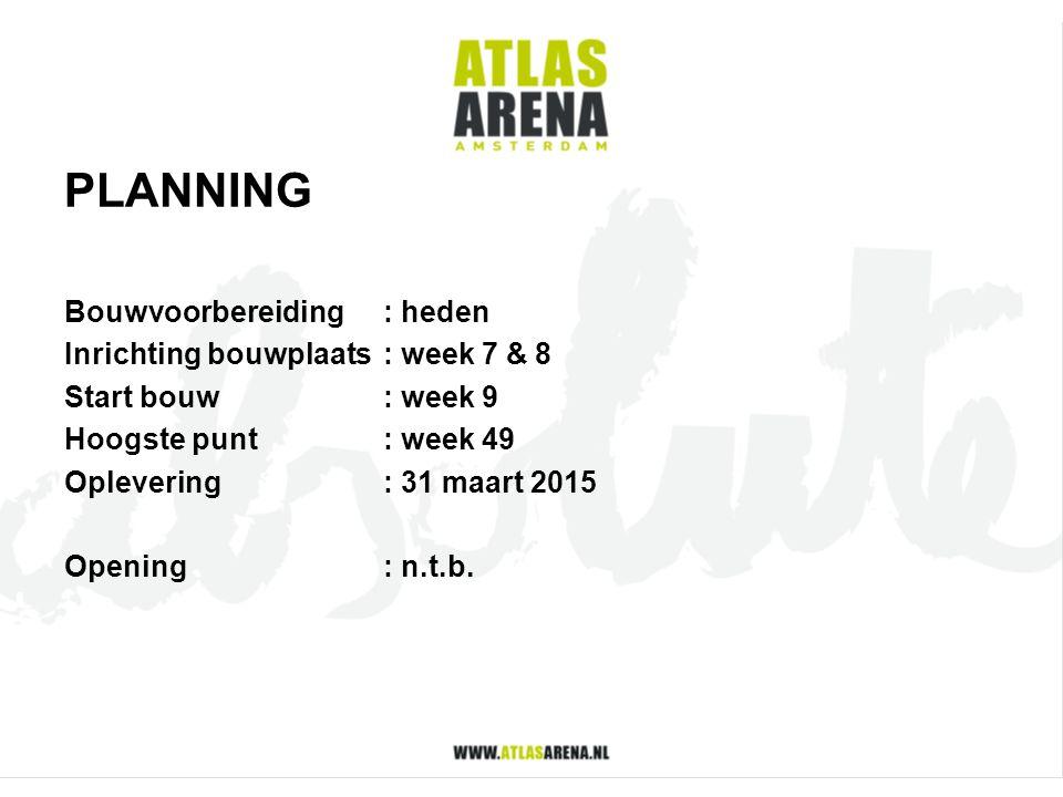 PLANNING Bouwvoorbereiding : heden Inrichting bouwplaats : week 7 & 8
