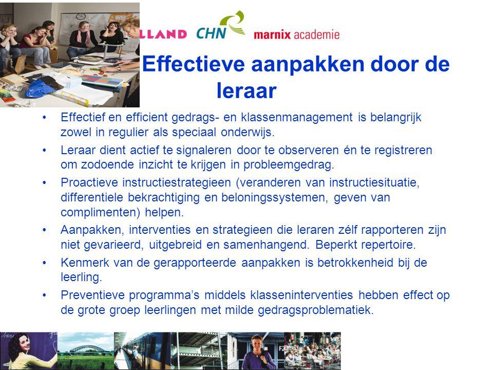 Effectieve aanpakken door de leraar
