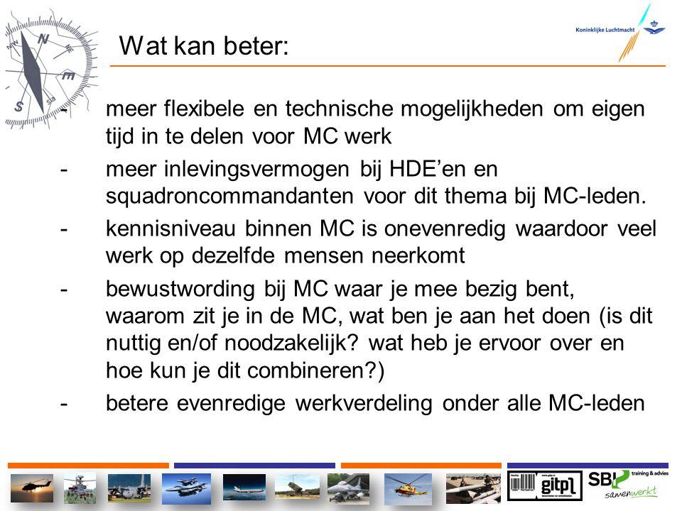 Wat kan beter: meer flexibele en technische mogelijkheden om eigen tijd in te delen voor MC werk.