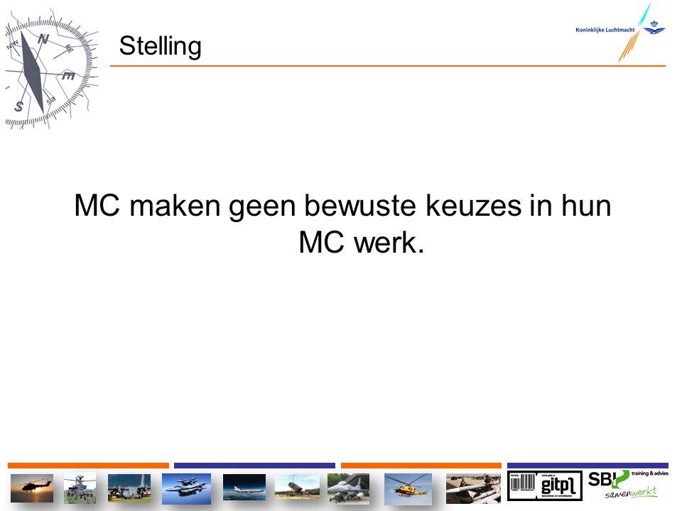 MC maken geen bewuste keuzes in hun MC werk.