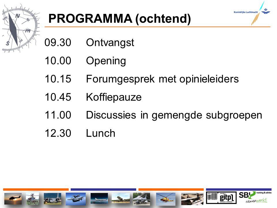 PROGRAMMA (ochtend) 09.30 Ontvangst 10.00 Opening