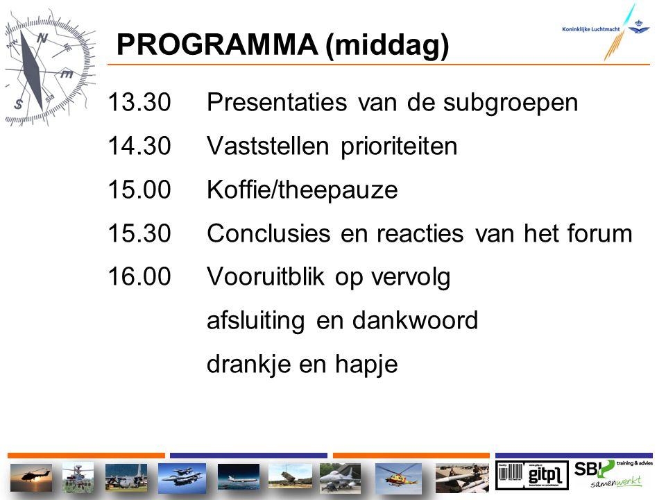 PROGRAMMA (middag) 13.30 Presentaties van de subgroepen