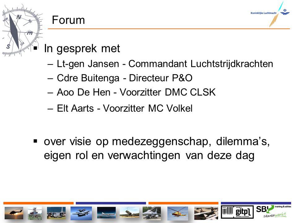 Forum In gesprek met. Lt-gen Jansen - Commandant Luchtstrijdkrachten. Cdre Buitenga - Directeur P&O.