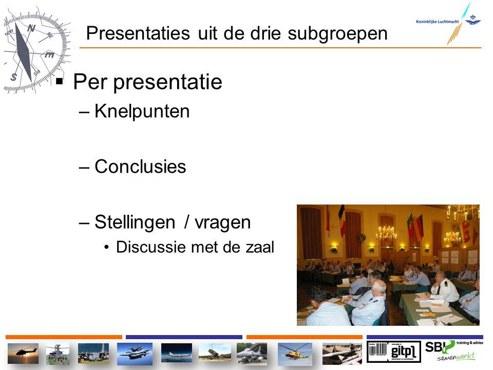 Presentaties uit de drie subgroepen