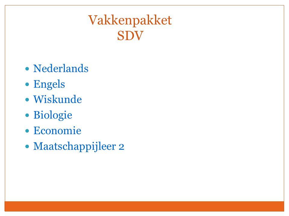 Vakkenpakket SDV Nederlands Engels Wiskunde Biologie Economie