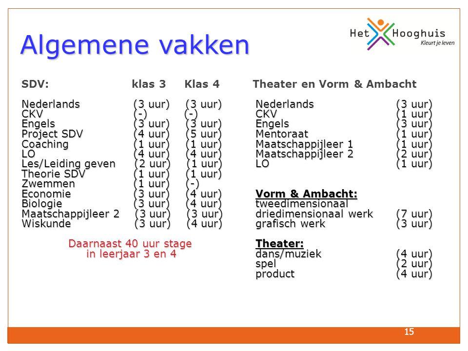 Algemene vakken SDV: klas 3 Klas 4 Theater en Vorm & Ambacht