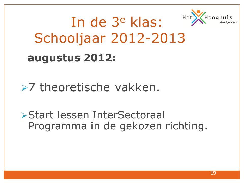 In de 3e klas: Schooljaar 2012-2013