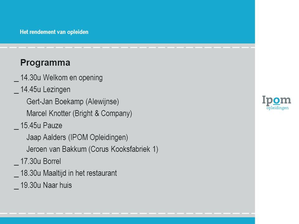 Programma 14.30u Welkom en opening 14.45u Lezingen