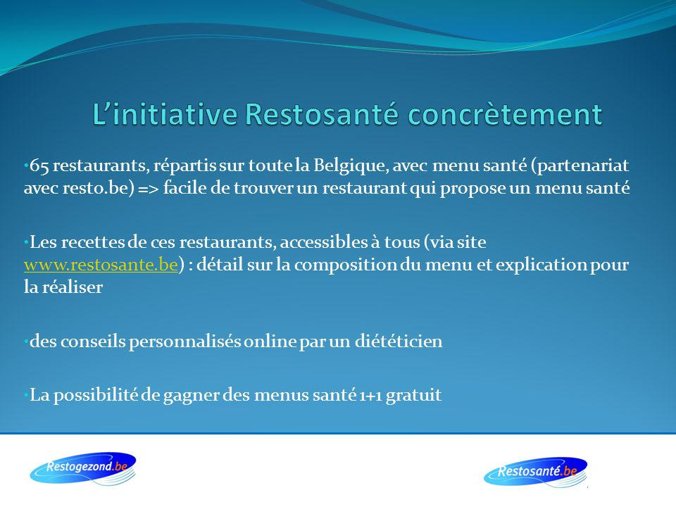 L'initiative Restosanté concrètement