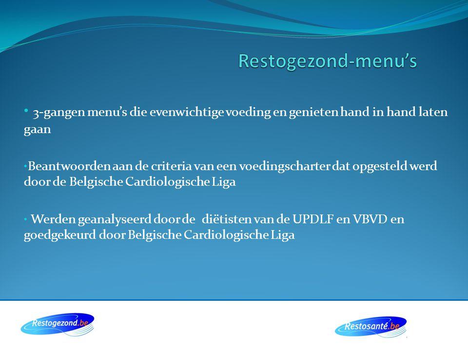 Restogezond-menu's 3-gangen menu's die evenwichtige voeding en genieten hand in hand laten gaan.