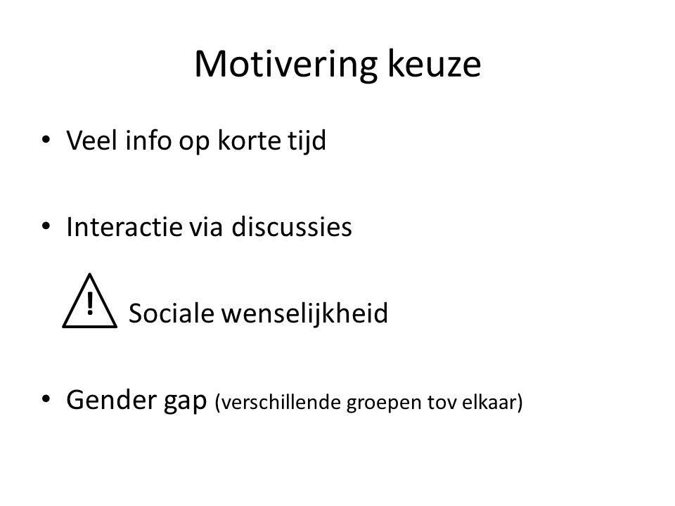 Motivering keuze ! Veel info op korte tijd Interactie via discussies