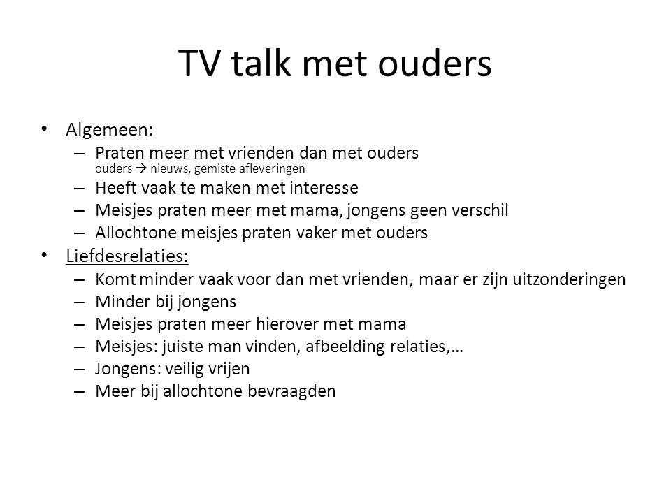 TV talk met ouders Algemeen: Liefdesrelaties:
