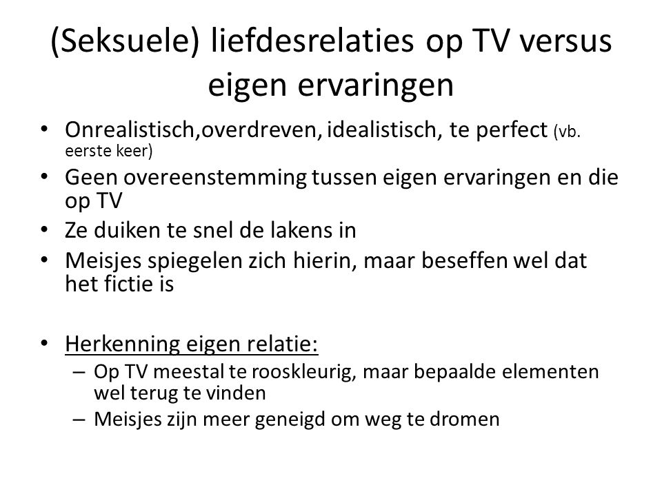 (Seksuele) liefdesrelaties op TV versus eigen ervaringen