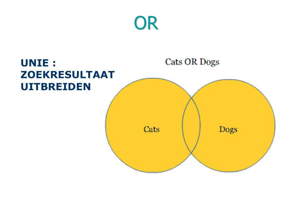 OR UNIE : ZOEKRESULTAAT UITBREIDEN Operator 'OR' = OF = +