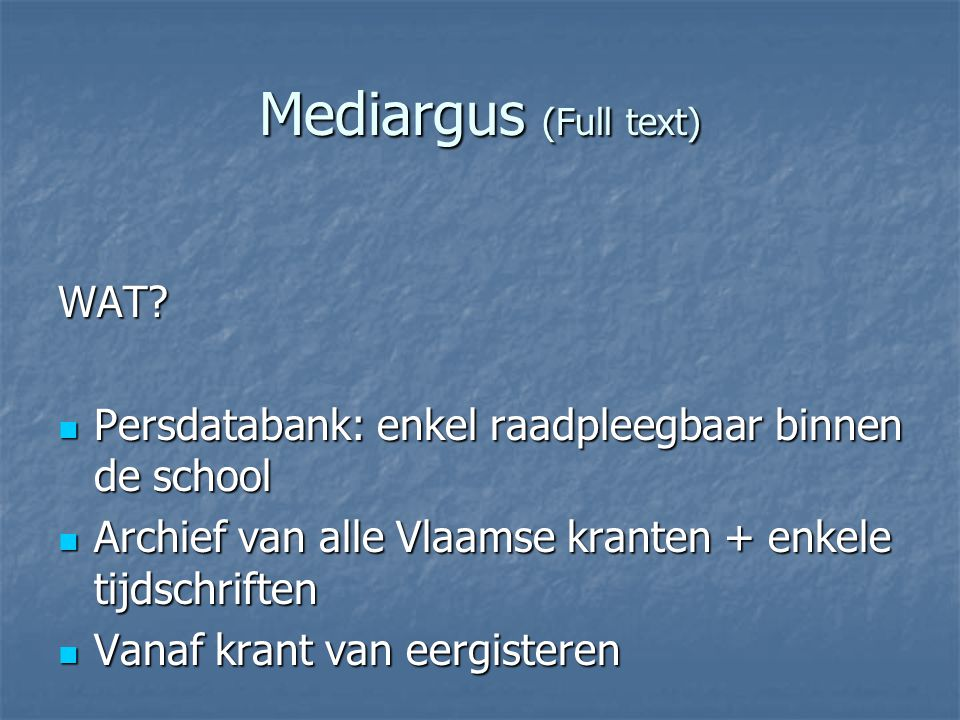Mediargus (Full text) WAT