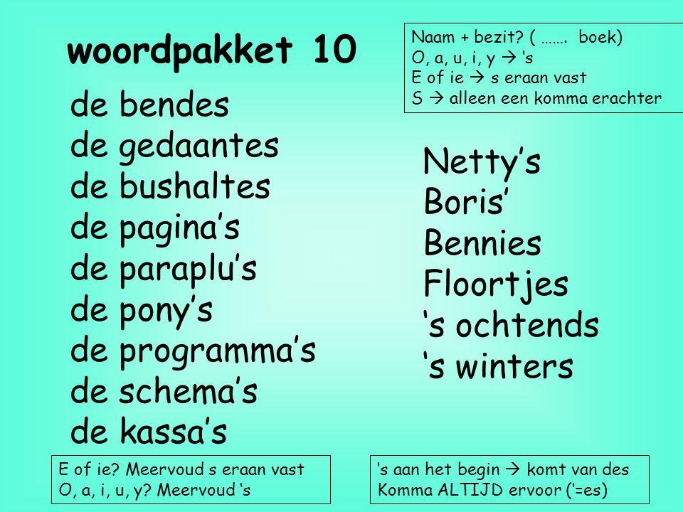 woordpakket 10 de bendes de gedaantes de bushaltes Netty's de pagina's
